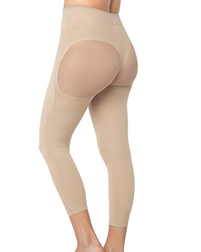 Leonisa Max Power Extra-High-Waisted Firm Compression Shapewear Leggings Activewear Pants for Women Beige