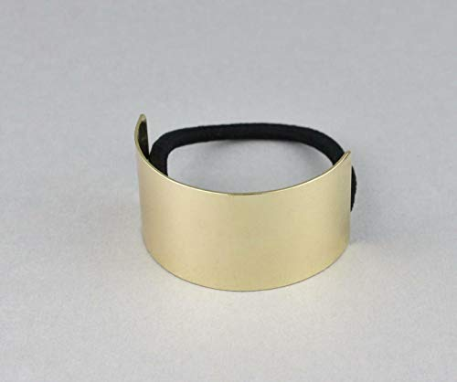 Gold metal cuff genie style ponytail holder stretch elastic pony tail cover R-1805 ()