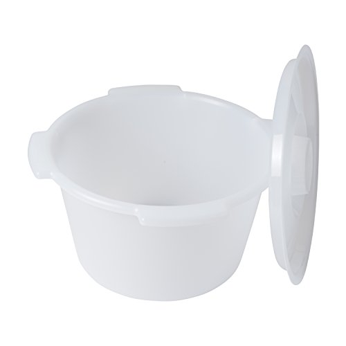DMI Universal Replacement Plastic Commode Pail with Lid, 7 quarts, Durable and Sturdy, Easy to Clean, Clear