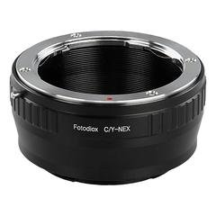 Fotodiox DLX Stretch Lens Mount Adapter - Contax/Yashica (CY) SLR Lens to Sony Alpha E-Mount Mirrorless Camera Body with Macro Focusing Helicoid and Magnetic Drop-In Filters by Fotodiox