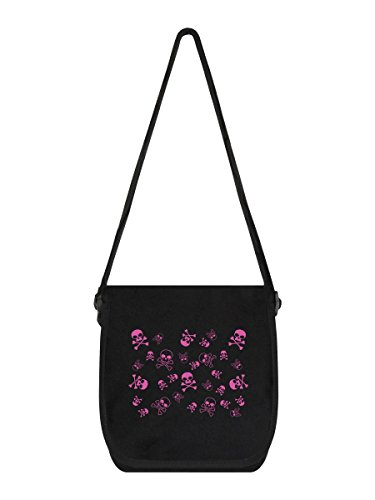 Mini-Messenger-Bag Skull Frenzy 19 x 25 x 8 cm schwarz