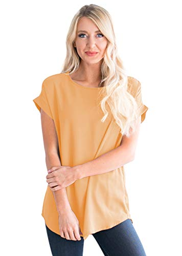 Womens-Tops Cuff-Sleeve Crew-Neck Loose Chiffon-Blouses Casual-Tunics Mustard ()