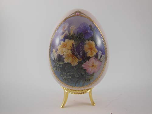 Lena Liu Butterfly Garden Porcelain Egg Collection Petunia and Purple Emperor Danbury Mint ()