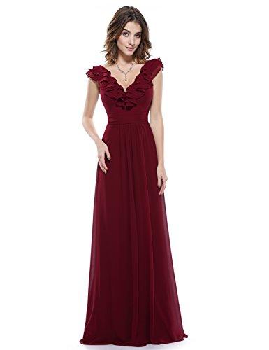 Ever Pretty Double V-Neck Ruffles Empire Waist Evening Dress 08500