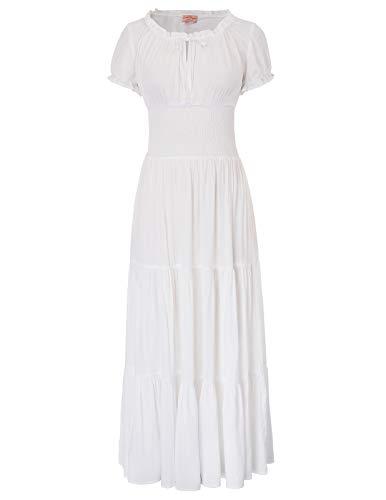 Belle Poque Renaissance Peasant Maiden Boho Short Sleeve Ruffle Dress White Size XL -