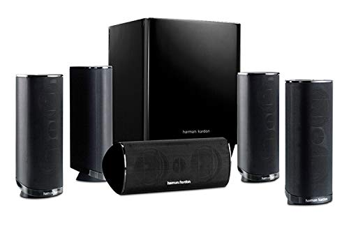 Premium High Performance Harman Kardon Newest 5.1 Channel Home Theater Speaker Package, Satellite Speaker, Subwoofer, Bass-Boost Control, Upgradable to 7.1 Channel