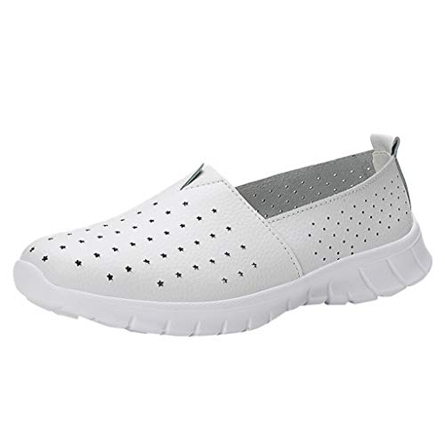 Respctful✿Women Loafers Leather Casual Cut Out Flat Shoes Ladies Fashion Wild Breathable Driving Shoes Round Toe Moccasins White