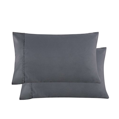 Mohap Pillowcases Gray Set of 2 Envelope Closure End Brushed Microfiber 1800 Super Soft and Very Durable Queen 20 by 30 Inch