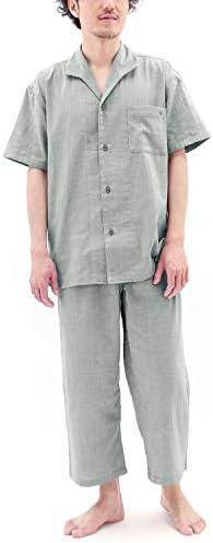 パジャマ 半袖 前開き ストレッチ 二重 ガーゼ メンズ/セージグリーン・LBサイズ