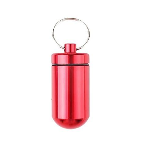 Calistouk - 1 pastillero de aluminio, con soporte para botella de medicina, llavero rojo Rojo
