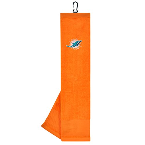 Team Effort NFL Miami Dolphins Face/Club Tri-Fold Embroidered Towel ()