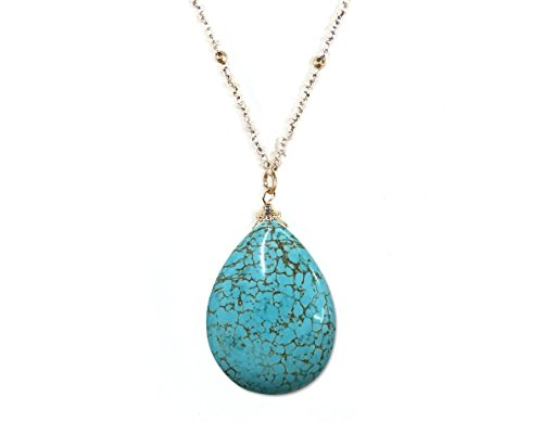 Pear Turquoise Necklace - [Handmade Faceted Pear Shape Natural Stone Pendant Necklace with Seed Beads] Blush-Turquoise (5/8)