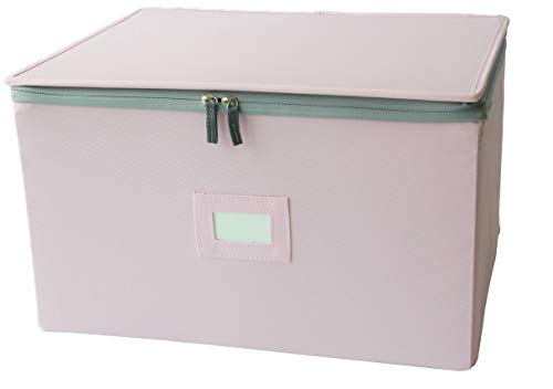In This Space Hard-shell Foldable Storage Chest For Stemware, Ornaments and Odd-shape Plates (Pink)