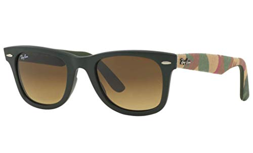 Ray-Ban RB2140 Wayfarer Sunglasses, Matte Military Green/Brown Gradient, 50 mm ()