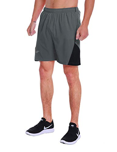 EZRUN Men's 7 Inch Quick Dry Running Shorts Workout Sport Fitness Short with Liner Zip Pocket(Grey,M)