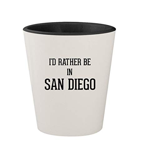 I'd Rather Be In SAN DIEGO - Ceramic White Outer & Black Inner 1.5oz Shot Glass ()