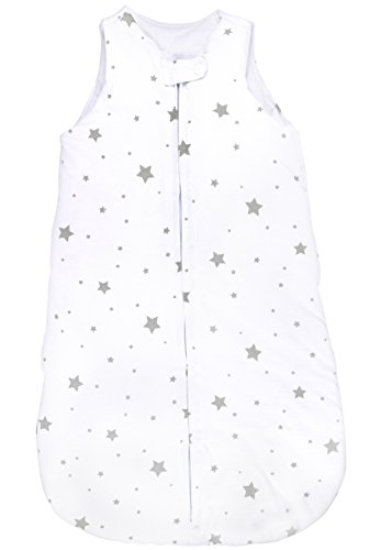 Baby Wearable Blanket- Sleep Bag Winter Weight Grey Stars for Baby Girl or Boy (3-6 Months) by Elys & Co