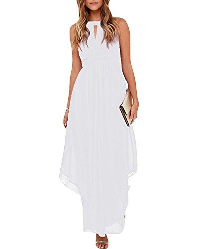 2f4936de3 Quge Noche Blanco Gasa Bodas Fiesta Y Largo De Vestido Color Mujer  Halterneck Vestidos Puro Coctel f6y7gb
