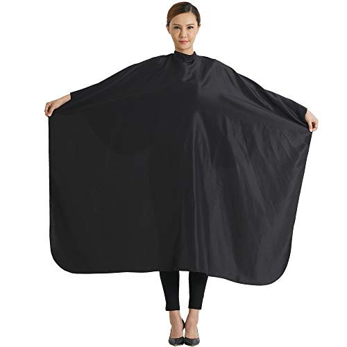 SMARTHAIR Professional Salon Cape Polyester Haircut Apron Hair Cut Cape,54''x62'',Black,C007001E-L by SMARTHAIR (Image #6)