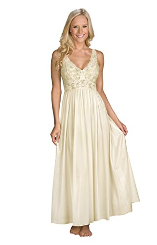 Shadowline Women's Silhouette 53 Inch Sleeveless Long Gown, Ivory, Medium