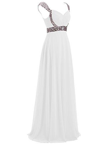 Chiffon Abendkleid Lange Weiß Formal Brautjungfernkleider Erosebridal wCq5Ozv