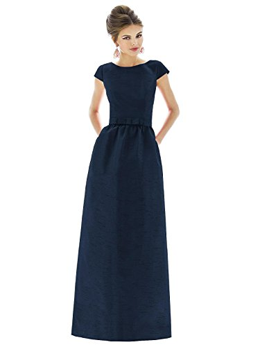 Forever Alfred Sung Style D569 Floor Length dupioni Shirred Skirt Formal Dress - Cap Sleeves Bateau Neck - Midnight - 8 - Alfred Sung Bridesmaid Gowns