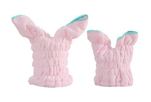 2 Packs Rabbit Ear Towels Adult Drying Hair Cap Pink + Kids Hair Drying Cap Pink by Gentle Meow