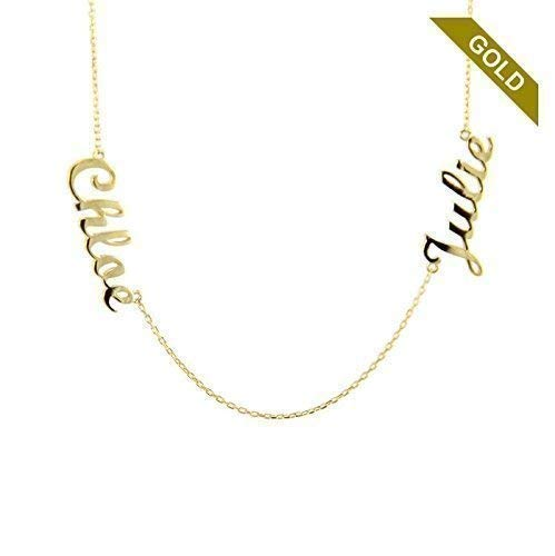 450f6e9443200 Amazon.com: 14k Solid Gold Two Names Necklace - Personalized Gold ...
