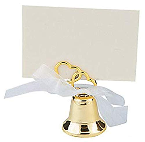 Gold Wedding Bell Favor, Wedding Placecard Holder (2 Dozen)
