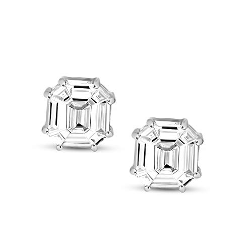 IGI Certified Natural Diamond Earrings 14K White Gold 3/4 carat 100% Real Diamond Pie Cut Stud Earring For Women ( 3/4…