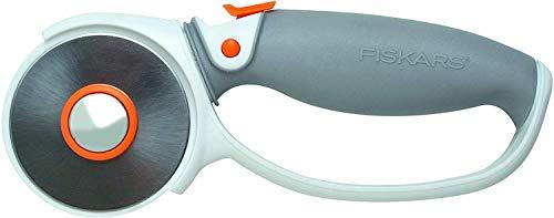 Fiskars Cúter rotatorio, Revestimiento de titanio, Ø 60 mm, para diestros y zurdos, Naranja/Blanco/Gris, 1004753