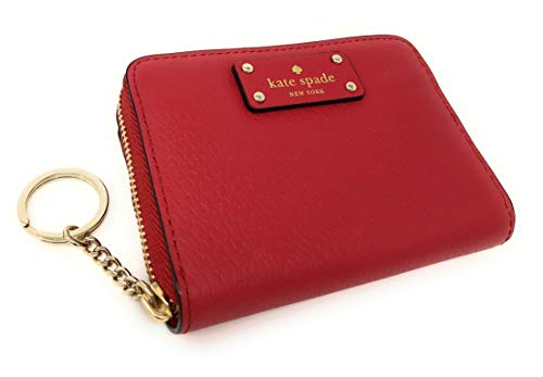 Kate Spade Grove Street Dani Leather Zip Around Wallet Key Chain Ring Red