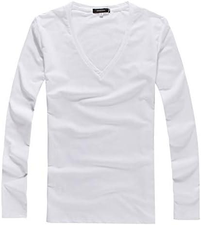 [ミックスリミテッド] Tシャツ メンズ タイト 長袖 ロンT Vネック 深Vネック フライス カットソー クルーネック