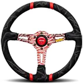 Premium Race Track Microfiber Grip w//Red Dual Center Stripes and Red MOMO Etched Spokes MOMO Street Steering Wheel Part # ULT35BK0RD Ultra