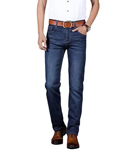 Fit Moda Uomo Denim Basic Stile Vintage Gamba Giovane Regular Jeans Blau Pantaloni Slim Dritta Stretch XdRxwq