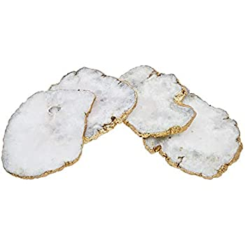 Godinger White Quartz Coasters Brass Edge, Set of 4