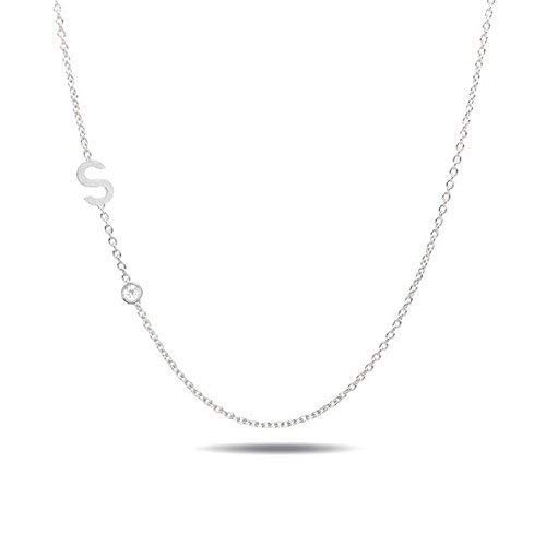 14k gold initial and bezel diamond necklace//A to Z necklace//Valentines day gift//Diamond bezel initial necklace