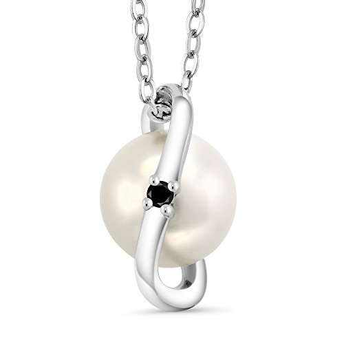 Elegant Pearl Diamond Necklace (Black Diamond & Cultured Freshwater Pearl 925 Sterling Silver Pendant With Chain)