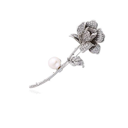 M&D Jewelry White Rose Brooch Pin Flower brooches for Women Pearl Brooch pins for Women Paved with Cubic Zirconia Pearl - Mother Of Pearl Flower Brooch