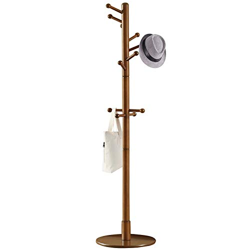 Vlush Sturdy Wooden Coat Rack Stand, Entryway Hall Tree Coat Tree with Solid Round Base for Hat,Clothes,Purse,Scarves,Handbags,Umbrella-(Brown, 11 Hooks)