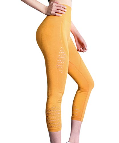HURMES High Waist Workout Seamless Capris Leggings for Women - Slimming Tummy Control Yoga Pants Stretchy Compression Sport Gym Tights Yellow