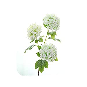 Maja Shop 3 Heads Artificial Snowballs Flower Fake Hydrangea Flower Branch Simulation Floral Bouquet Wedding Party Home Decoration,White 111