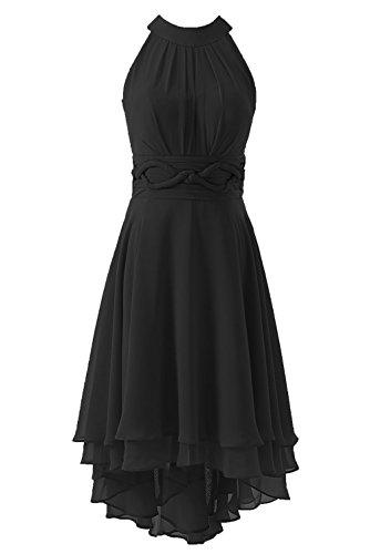 Robes Courtes De Demoiselle D'honneur Des Femmes Dys Salut Lo Noir Mousseline Robe De Bal Retour À La Maison