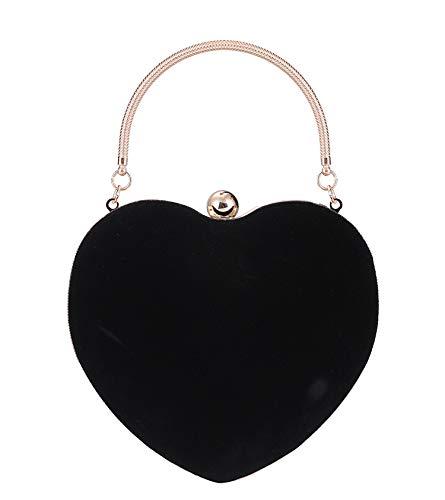 Yujiayi Women's Heart-Shaped Evening Bag Fashion Hand Bag Evening Clutch Female Coin Purse Bag Banquet Bag for Lady(Black)