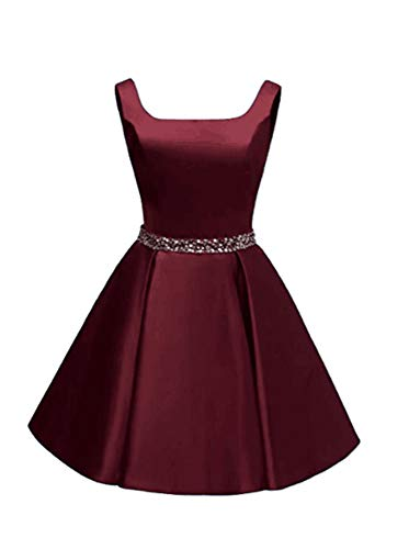 JeniDress Women's Short Square Neck Satin Formal Evening Gown A-Line Beading Homecoming Cocktail Dress with Pockets Burgundy