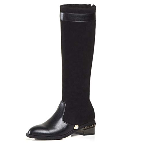 (GIY Women's Knee High Winter Boots Lattice Faux Fur-Lined Low Flat Heel Combat Boot Back Zip Riding Snow Boots Black)
