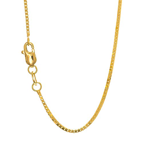 "JewelStop 10k Solid Yellow Gold 1 mm Box Chain Necklace, Lobster Claw Clasp - 18"", 2.7gr."