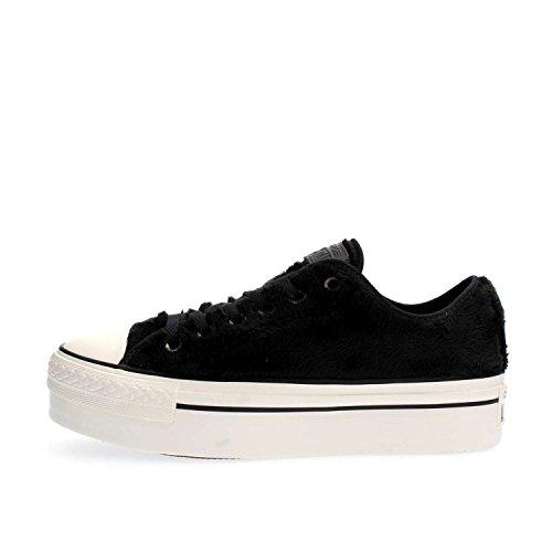 Sneakers Donna CONVERSE ct as ox platform faux fur pelo bassa bianco nero pelo, nuova collezione autunno inverno 2017/2018 Black