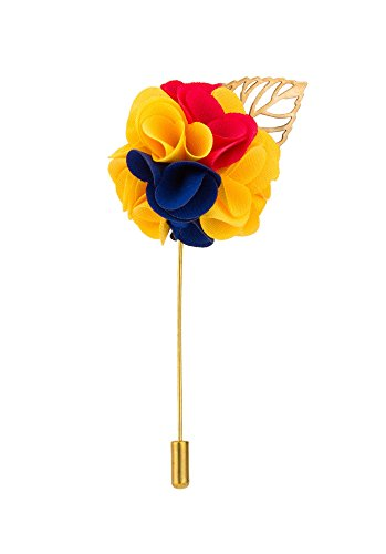 Yellow Gold Leaf Brooch - Knighthood Men's Bunch Flower with Golden Leaf Lapel Pin for Suit (Yellow Blue & Red)