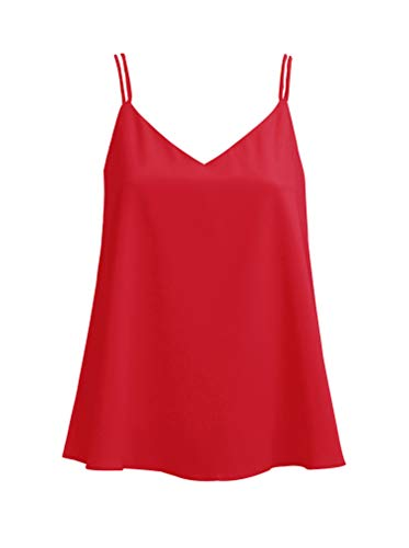 Ecupper Women's Strappy V Neck A-line Cami Shirt Layered Chiffon Fashion Camisole Vest Tank Top Red 2-4/ S